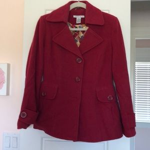 Cabi boiled wool coat with silk trim